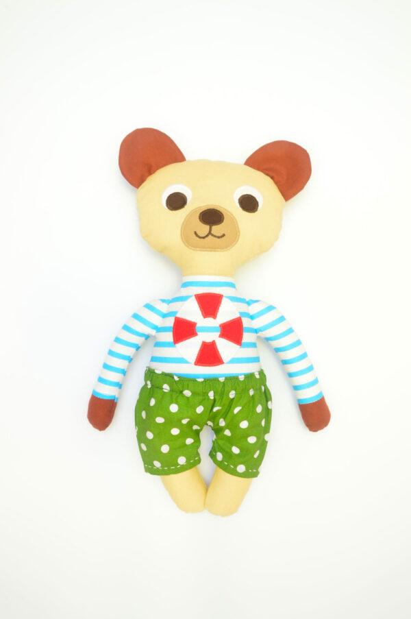 medvídek Jáchym v zelených kalhotkách
