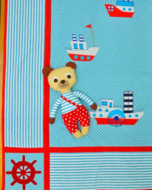 námořnická deka s parníky a medvídek