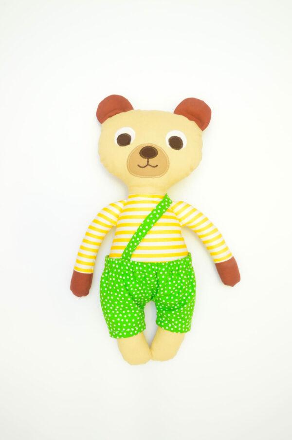 medvídek Bonifác v hráškově zelených kalhotkách