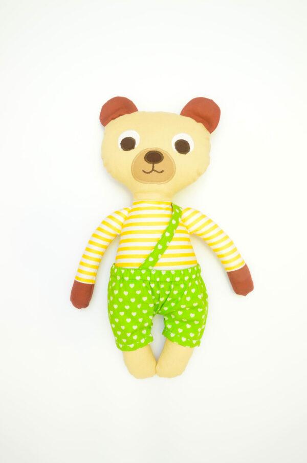 medvídek Bonifác v zelených kalhotkách se srdíčky
