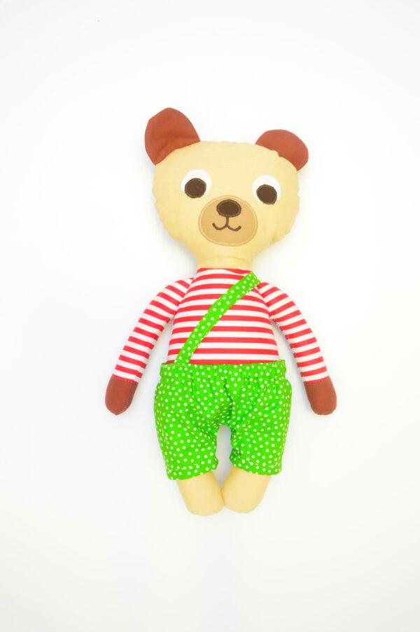 medvídek Ervín v hráškově zelených kalhotkách