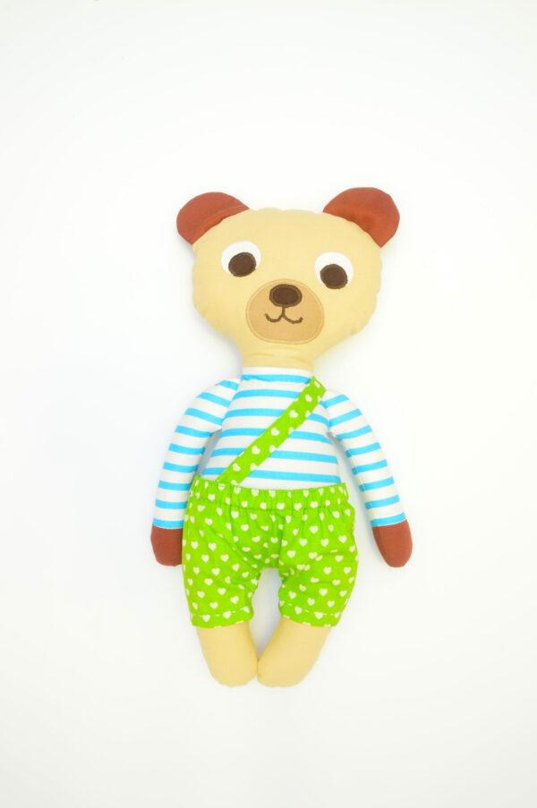 medvídek Florián v zelených kalhotkách se srdíčky