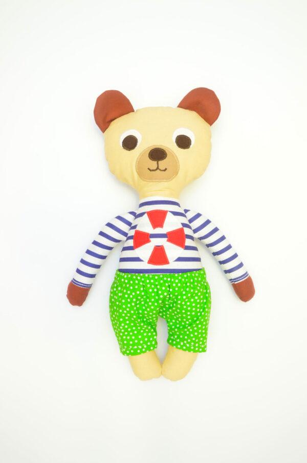 medvídek František v hráškově zelených kalhotkách
