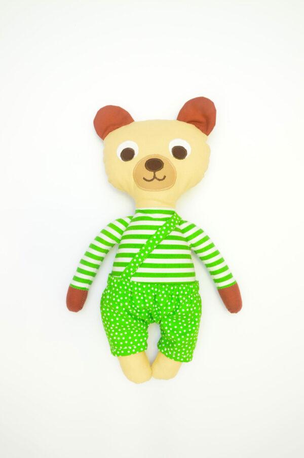 medvídek Vendelín v hráškově zelených kalhotkách