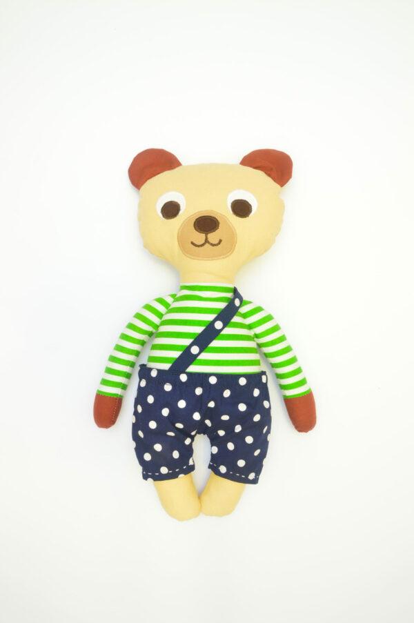 medvídek Vendelín v modrých kalhotkách