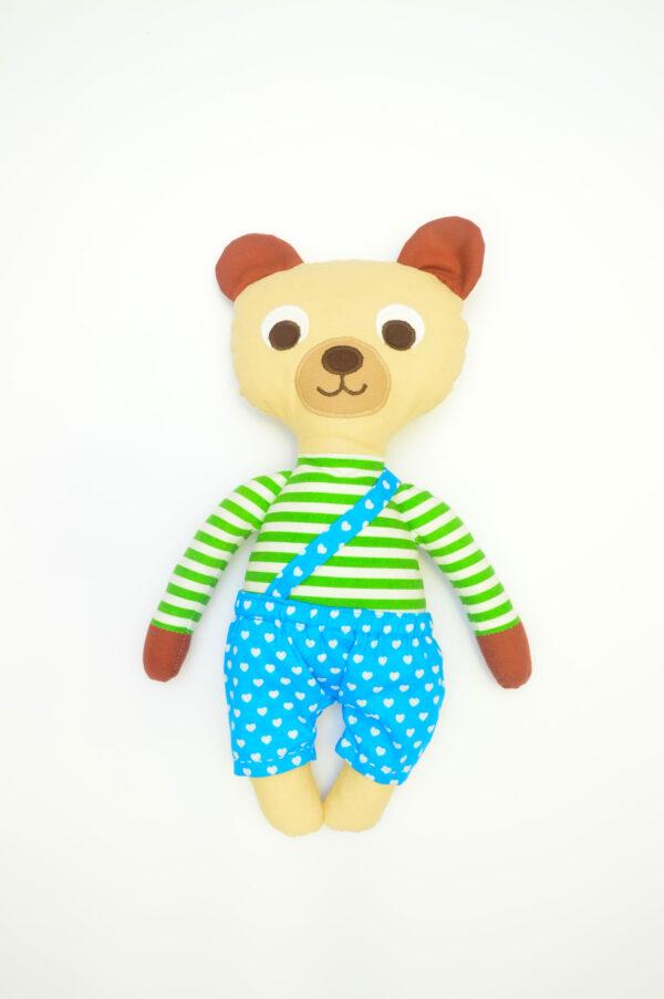 medvídek Vendelín v tyrkysových kalhotkách