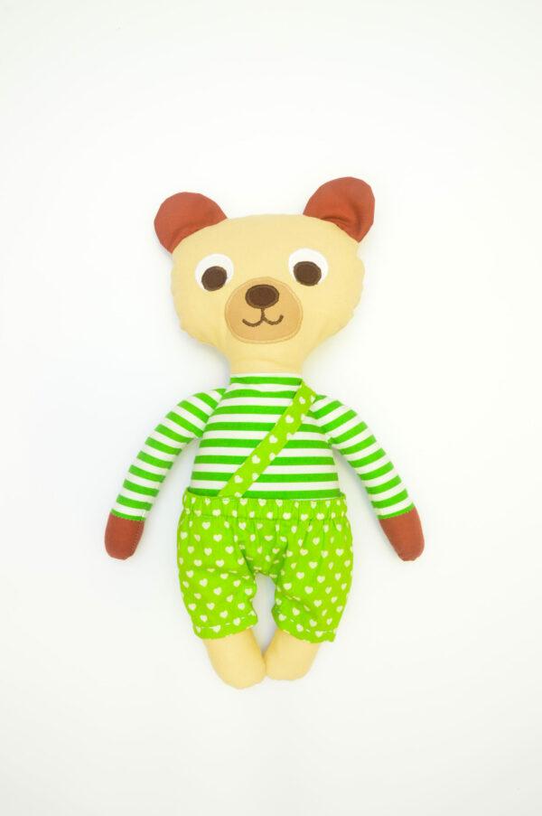 medvídek Vendelín v zelených kalhotkách se srdíčky