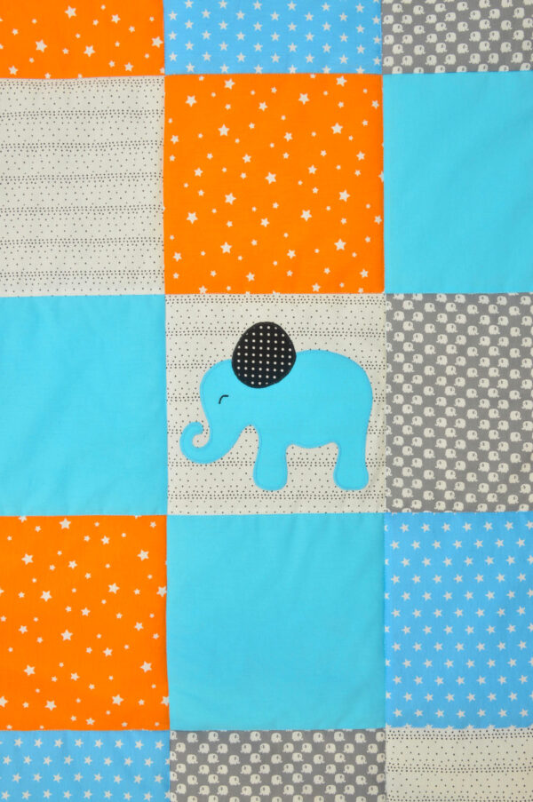 dětská deka s modrým slonem