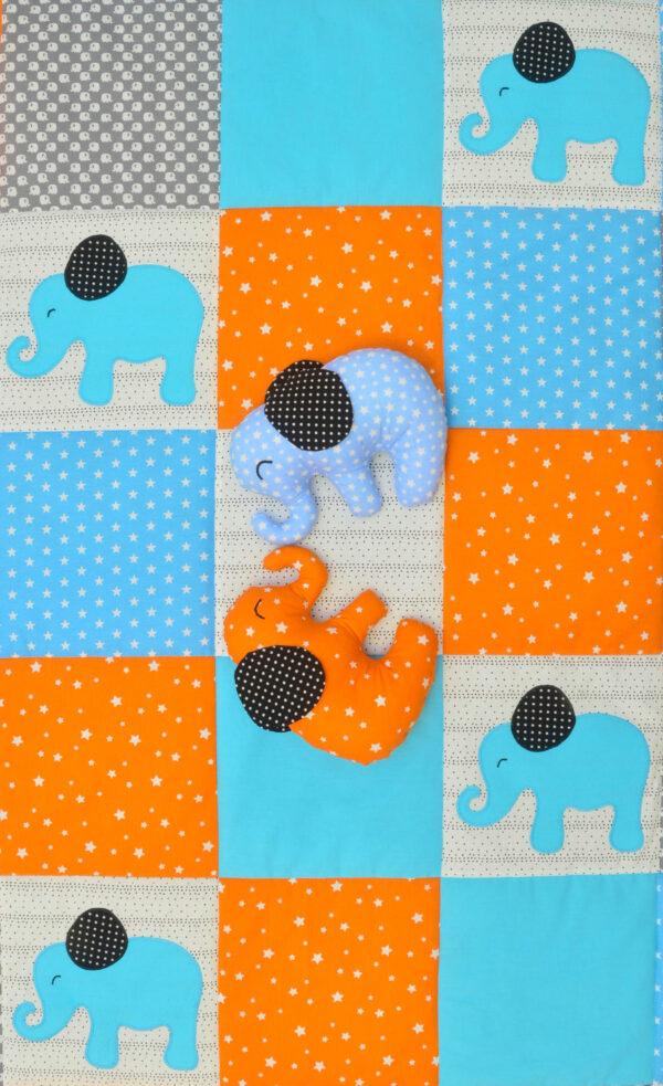 dětská deka s hvězdami a látkoví sloníci