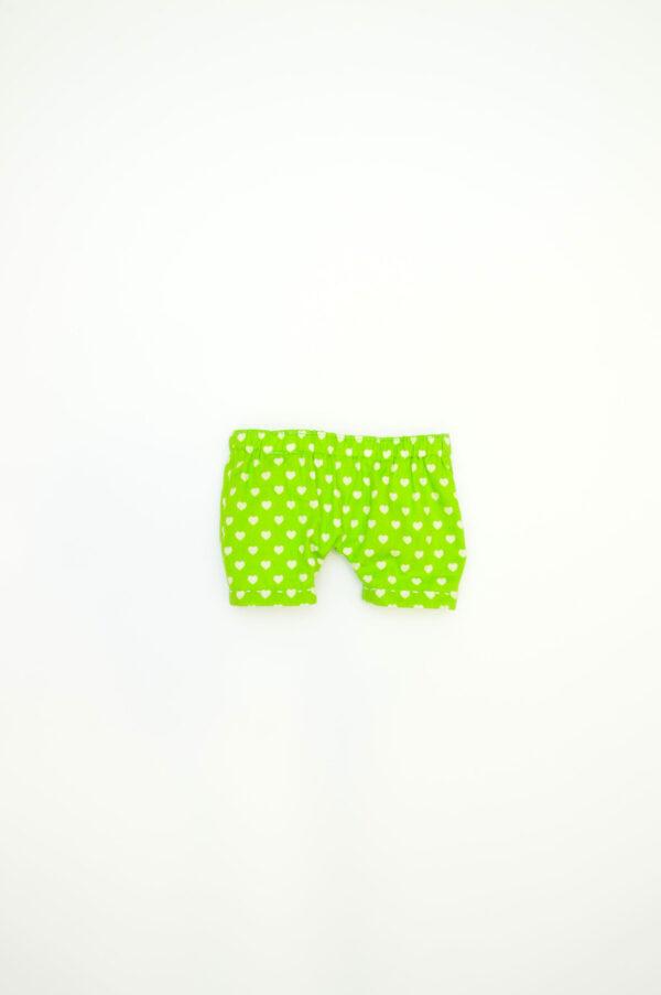 zelené kalhotky se srdíčky pro látkového medvěda