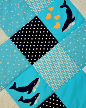dětská deka s velrybami